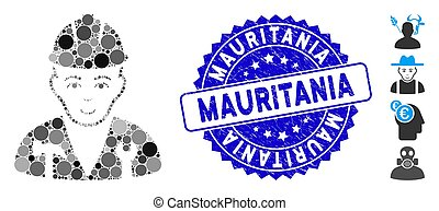 ícone, mauritânia, colagem, recruta, angústia, selo