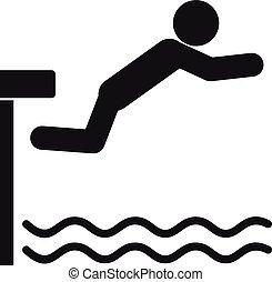 ícone, mergulhar, estilo, tábua, simples