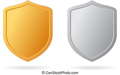 ícone, metal, escudo, ouro, prata