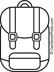 ícone, mochila, linha, estilo, esboço