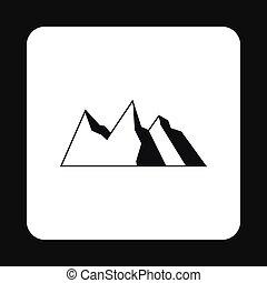 ícone, montanhas, estilo, simples