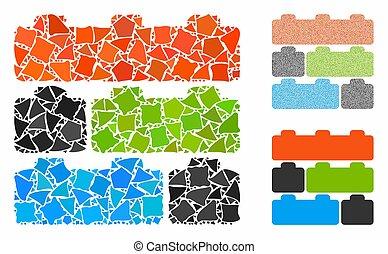 ícone, mosaico, brinquedo, raggy, tijolos, partes, construtor