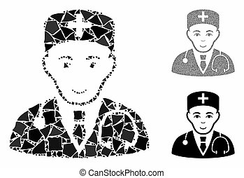 ícone, mosaico, médico, partes, raggy