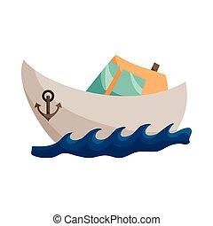 ícone, navio, estilo, caricatura