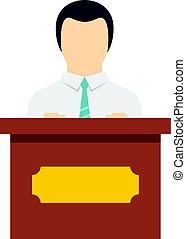 ícone, orador, isolado, público