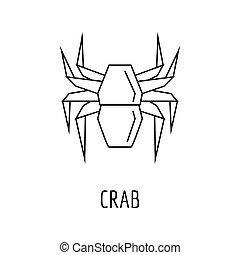 ícone, origami, estilo, esboço, carangueijo