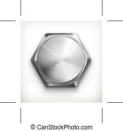 ícone, parafuso, metálico