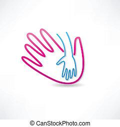 ícone, parental, mão