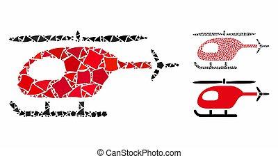 ícone, partes, mosaico, irregular, helicóptero