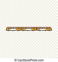 ícone, passageiro, estilo, trem, caricatura
