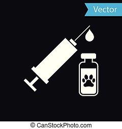 ícone, pata, animal estimação, cão, ilustração, isolado, experiência., vetorial, pretas, siringa, gato branco, ou, vacina, print.