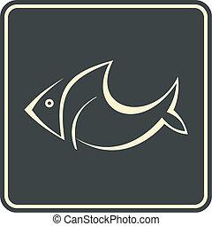 ícone, peixe, vetorial, -, sinal