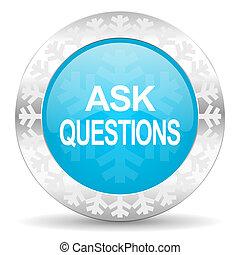ícone, perguntas, natal, perguntar, botão