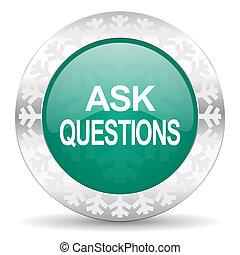 ícone, perguntas, natal, verde, perguntar, botão