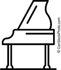 ícone, piano, grandioso, estilo, esboço