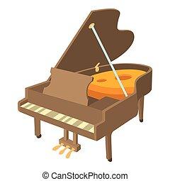 ícone, piano, isometric, estilo, grandioso
