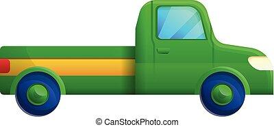 ícone, pickup, verde, estilo, caricatura