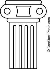 ícone, pilar, esboço, estilo, templo