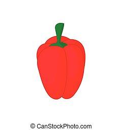 ícone, pimenta, estilo, vermelho, caricatura