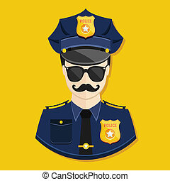 ícone, policial, vetorial