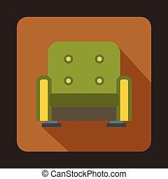 ícone, poltrona, estilo, verde, apartamento