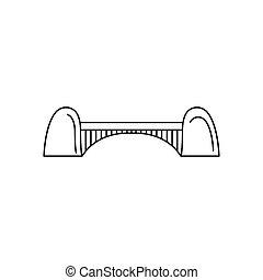 ícone, ponte, estilo, esboço
