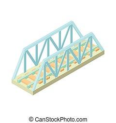 ícone, ponte, estrada ferro, estilo, caricatura