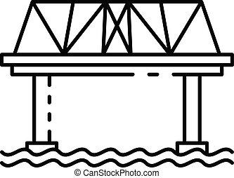ícone, ponte, estrada ferro, estilo, esboço