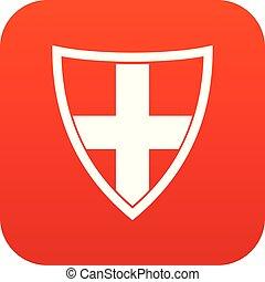 ícone, proteção, escudo, vermelho, digital