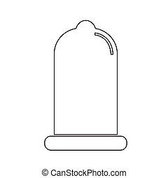 ícone, proteção, preservativo, sinal