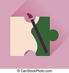 ícone, quebra-cabeça, longo, sombra, escova, apartamento