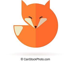 ícone, raposa, ilustração, elemento