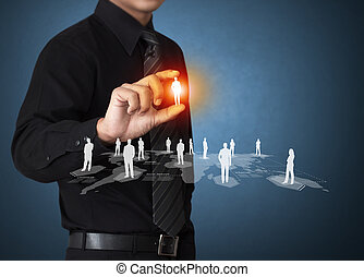 ícone, rede, virtual, social