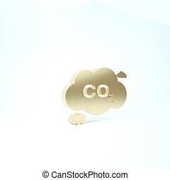 ícone, render, experiência., bióxido, smog, carbono, isolado, emissões, fórmula, 3d, nuvem, ilustração, ouro, co2, meio ambiente, poluição, símbolo, conceito, branca, concept.