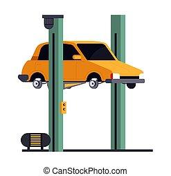 ícone, reparar, elevador, veículo, isolado, serviço, car