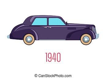 ícone, retro, 1940, veículo, vindima, isolado, car