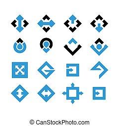 ícone, seta, esquadro, -, vetorial