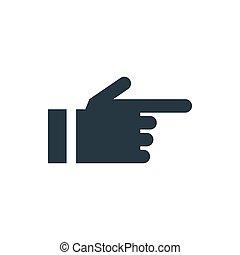 ícone, seta, mão