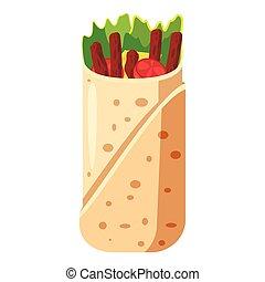 ícone, shawarma, estilo, caricatura