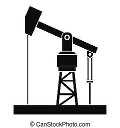 ícone, simples, bomba, óleo, estilo