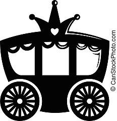 ícone, simples, carruagem, pretas, estilo