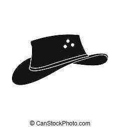ícone, simples, estilo, chapéu, boiadeiro