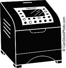 ícone, simples, estilo, impressora, laser