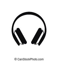 ícone, simples, estilo, protetor, fones