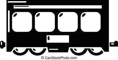 ícone, simples, estilo, trem, rapidamente