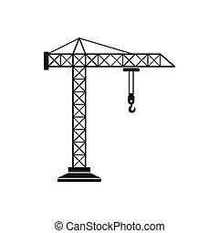 ícone, simples, guindaste, construção, estilo