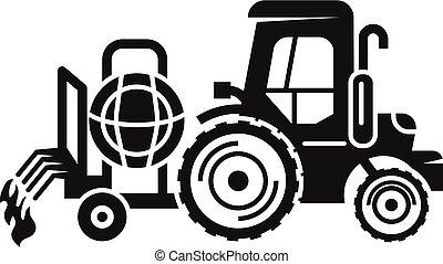 ícone, simples, irrigação, estilo, trator
