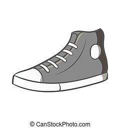 ícone, sneakers, estilo, pretas, monocromático