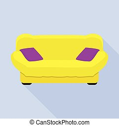 ícone, sofá, estilo, amarela, apartamento