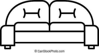ícone, sofá, estilo, braço, esboço